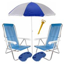 Kit Praia 2 Cadeira Reclinável Sannet Alum + Guarda Sol + Saca Areia + 2 Mesinha - Mor -