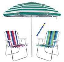 Kit Praia 2 Cadeiras Alta Alumínio + Guarda Sol 2,6m Listrado Alum + Saca Areia - Mor -