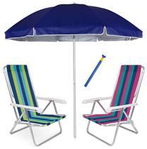 Kit Praia 2 Cadeiras Reclinável 8 Pos Alum + Guarda Sol 2,6m + Saca Areia - Mor -