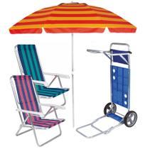 Kit Praia Carrinho Com Avanço + 2 Cadeira Reclinável 8 Pos Alum + Guarda Sol 2,4m  - Mor -
