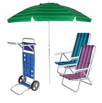 Kit Praia Carrinho De Praia + 2 Cadeira Reclinável 8 Pos Alum + Guarda Sol 2,4 Metros- Mor -
