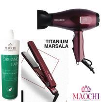 Kit Prancha MQ Marsala Titanium+Secador Turmaline+Alisamento - Mq Hair Professional