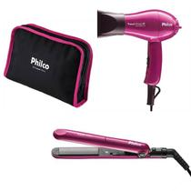 Kit Prancha Secador Philco Travel Shine Rosa Bivolt Mais bolsa