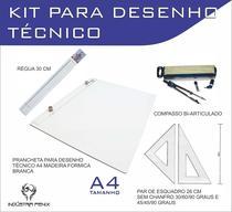 Kit Prancheta Desenho Técnico Engenharia Arquitetura Edificações a4 Formica Par Esquadro 26 cm Compasso Cis 170 Regua 30 - Fenix