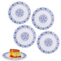 Kit Prato para Sobremesa 20cm em Melamina / Plastico Decorado Branco 4 Unidades  Fuxing -