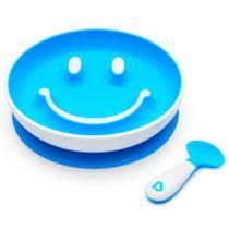 Kit prato smile com ventosa e colher Munchkin azul -