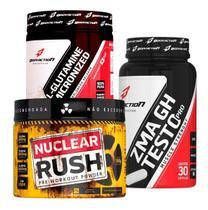 Kit Pré Treino Nuclear Rush + Glutamina + Zma Gh-testo Bodyaction -