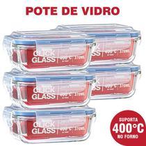 Kit Premium Click Glass 5 potes de vidro 100% herméticos -