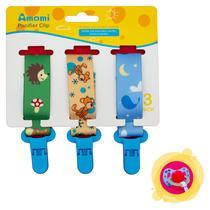 Kit Prendedor de Chupeta Bico Clipe Unissex Azul Floresta - BZ Kids