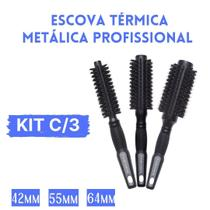 Kit Profissional 3 Escovas De Cabelo Termica Metalica Leve Cerdas De Javali Cabeleireiro Marco Boni -