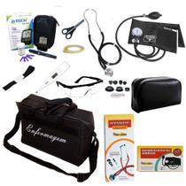 Kit Profissional de Enfermagem Completo Para Aula de Fundamentos Medidor Glicose com Bolsa Preta - Premium