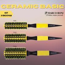 Kit Profissional Marco Boni 3 Escovas Termicas Em Ceramica Cerdas Duplas De Javali Salao Beleza -
