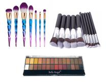 Kit Profissional Pinceis Maquiagem Paleta Sombra Belle Angel - Shoopweb