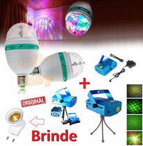 Kit Projetor Canhão Laser Projetor Holográfico Efeitos Strobo Luz + Lampada Giratória Led Para Festa - Leffa Shop