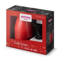 Kit Promo Bule Térmico Vermelho 700ml Sanremo + Filtro Café -