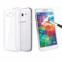 """Kit Proteção Capa Carteira Preta E Película Vidro Temperado - Samsung Galaxy J5 Pro 2017 J530g 5,2"""" - Maston"""