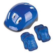 Kit Proteção Capacete Cotoveleira E Joelheira Infantil Azul Fênix - Fenix