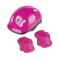 Kit Proteção Capacete Cotoveleira E Joelheira Infantil Rosa Pink Fênix - Fenix