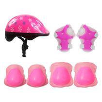 Kit Proteção Capacete + Joelheiras + Cotoveleiras + Munhequeiras Infantil Radical Plus Rosa Dm Toys -