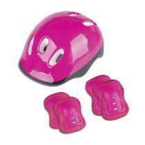 Kit Proteção Infantil Capacete Joelheira Cotoveleira Pink - Fênix - Buba