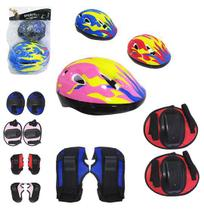 Kit protecao juvenil com capacete / cotoveleira / joelheira e protetor de mao colors - Sports