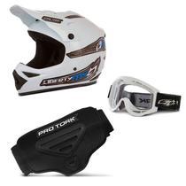 Kit Proteção Trilha Capacete + Óculos + Cinta Pro Tork 3 Itens -