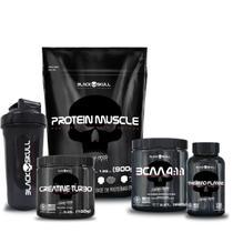 Kit proteína + bcaa + creatina + termo + coq (bau e gua) - BLACK SKULL