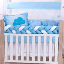 Kit Protetor Berço Americano Menino Nuvem Trança 100% Algodão + 2 Almofadas Decorativas - Zany Baby