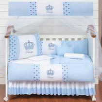 Kit Protetor Berço Completo Americano Realeza Coroinha 2 Laterais Azul Menino 11 peças e Saia Berço - L2M