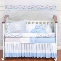 Kit Protetor Berço Completo Nuvem Azul Rolinho Menino 12 peças com saia box e lençol extra - L2M