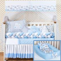 Kit Protetor Berço Completo Trançado Chuva de Amor Nuvem Azul 12 + Ninho Azul 4 peças - L2M