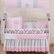 Kit Protetor Berço Trança coroa menina rosa 11 Peças - Essência Enxovais