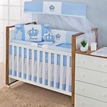 Kit Protetor de Berço Rolinho Menino Coroa 11 Peças - Azul Claro e Branco - Carinho Enxoval E Decoração