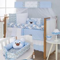 Kit Protetor De Berço Trança Urso Dengoso Bebê Azul + Ninho Redutor Com Almofada - Casa Pedro