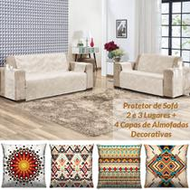Kit Protetor de Sofá 2 e 3 Lugares Suede + 4 Capas de Almofadas Decorativas - Palha - Casa Scarpa