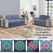 Kit Protetor de Sofá 2 e 3 Lugares Suede + 4 Capas de Almofadas Mandala - Azul - Casa Scarpa