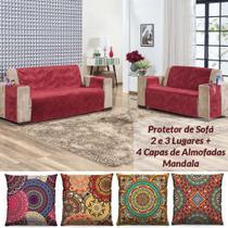 Kit Protetor de Sofá 2 e 3 Lugares Suede + 4 Capas de Almofadas Mandala - Vermelho - Casa Scarpa