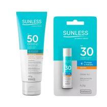 Kit Protetor FPS50 Base Bege Claro + Protetor Labial FPS30 - Sunless