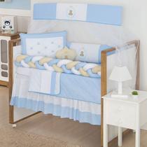 Kit Protetor Mini Berço Trança Ursinho Teddy Azul   - 10 pçs - Mamãe Cheguei