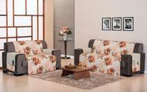 kit protetor sofa denver para sala quarto ou escritorio 2 e 3 lugares  patchwork salmao - Aquarela