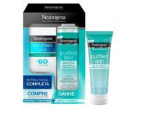 Kit Protetor Solar Facial Neutrogena Sun Fresh FPS 60 50ml + Água Micelar Purified Skin 200ml + Gel de Limpeza Neutrogena Purified Skin 80g -