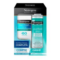 Kit Protetor Solar Facial Neutrogena Sun Fresh FPS60 50ml + Água Micelar 200ml -