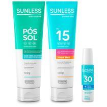 Kit Protetor Solar FPS15, Labial FPS30 e Pos Sol Sunless - Farmax