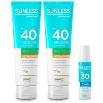 Kit Protetor Solar FPS40 02 unidades e Labial FPS30 Sunless - Farmax