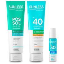 Kit Protetor Solar FPS40, Labial e Pos Sol Sunless - Farmax