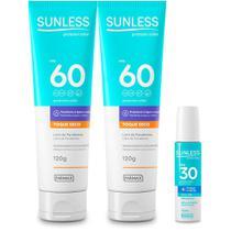 Kit Protetor Solar FPS60 02 unidades e Labial FPS30 Sunless - Farmax