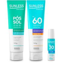 Kit Protetor Solar FPS60, Labial e Pos Sol Sunless - Farmax