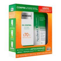Kit Protetor Solar Minesol Oil Control FPS 70 + Gel Limpeza Intensive Cleanser 60g Neostrata - Rotina para Pele Oleosa - Minesol Neostrata