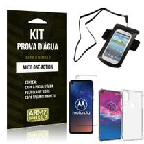 Kit Prova D'água Moto One Action Capinha a Prova D'água + Capa Anti Impacto + Película - Armyshield -