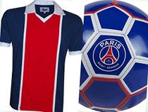 KIT PSG Camisa Liga Retrô Tam P + Bola de Futebol PSG - Paris Saint Germain 1982 -